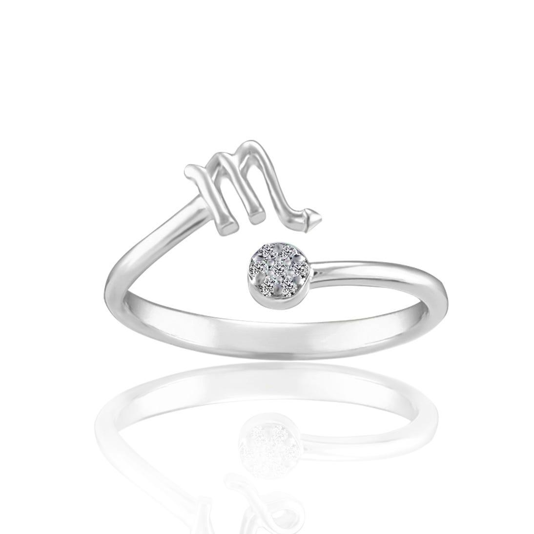 Zodiac Diamond Scorpio Fashion Ring in Sterling Silver