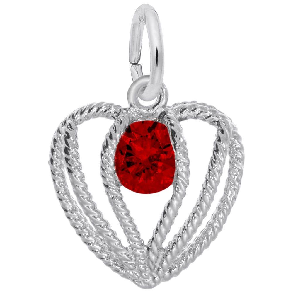 January Birthstone Held in Love Heart Charm in Sterling Silver