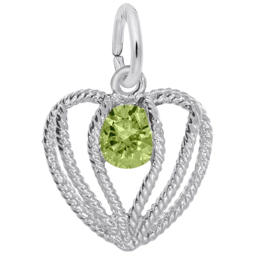 August Birthstone Held in Love Heart Charm in Sterling Silver