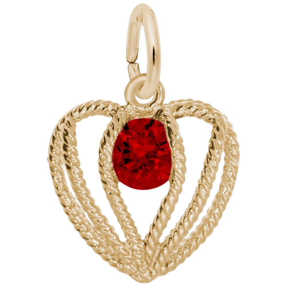 January Birthstone Held in Love Heart Charm in 14k Yellow Gold