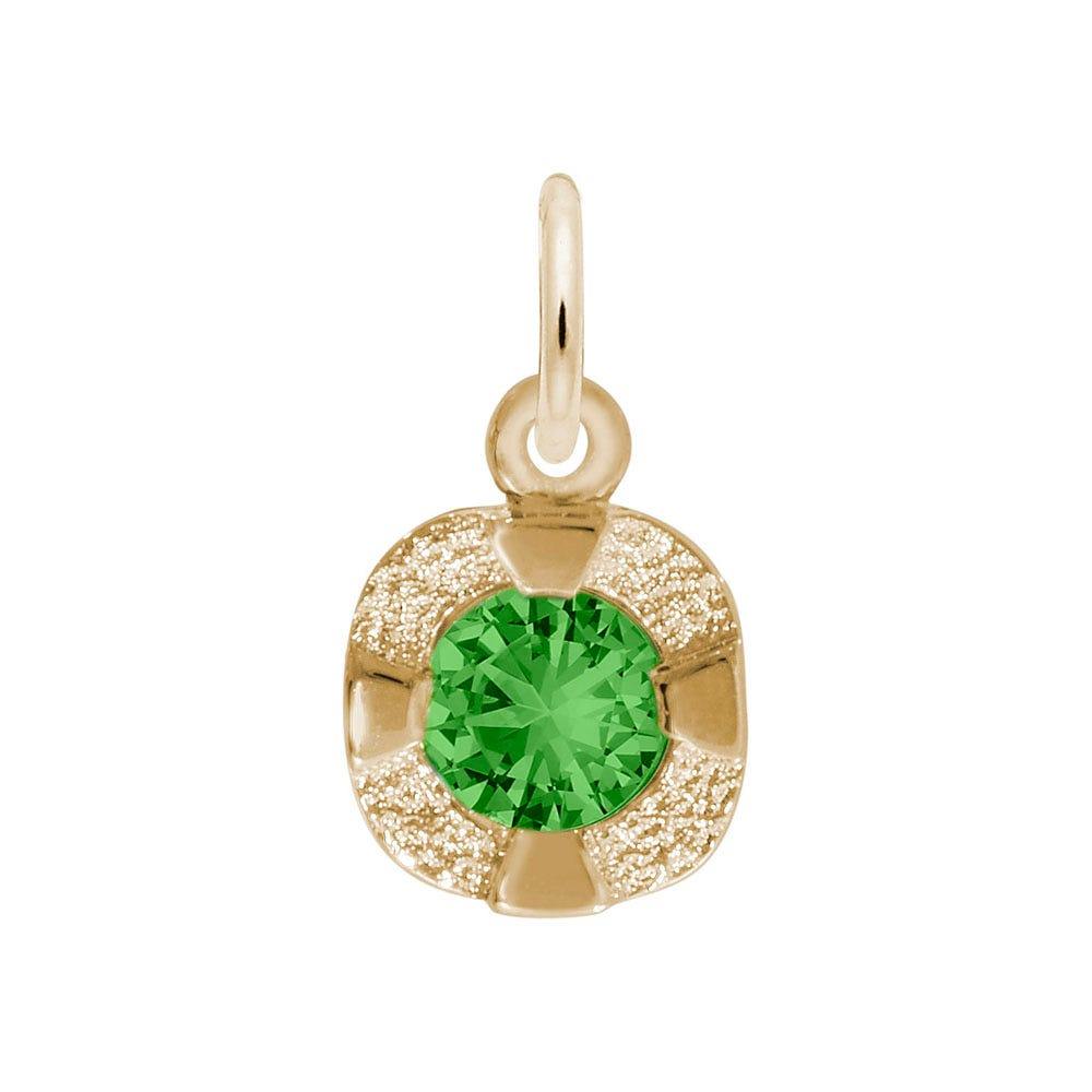 May Birthstone Petite Charm in Sterling Silver/ Gold Plated