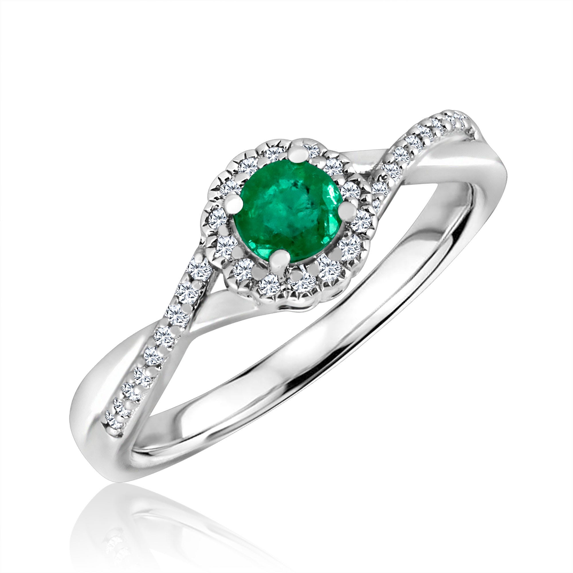 Round-Cut Emerald & Diamond Infinity Ring in Sterling Silver