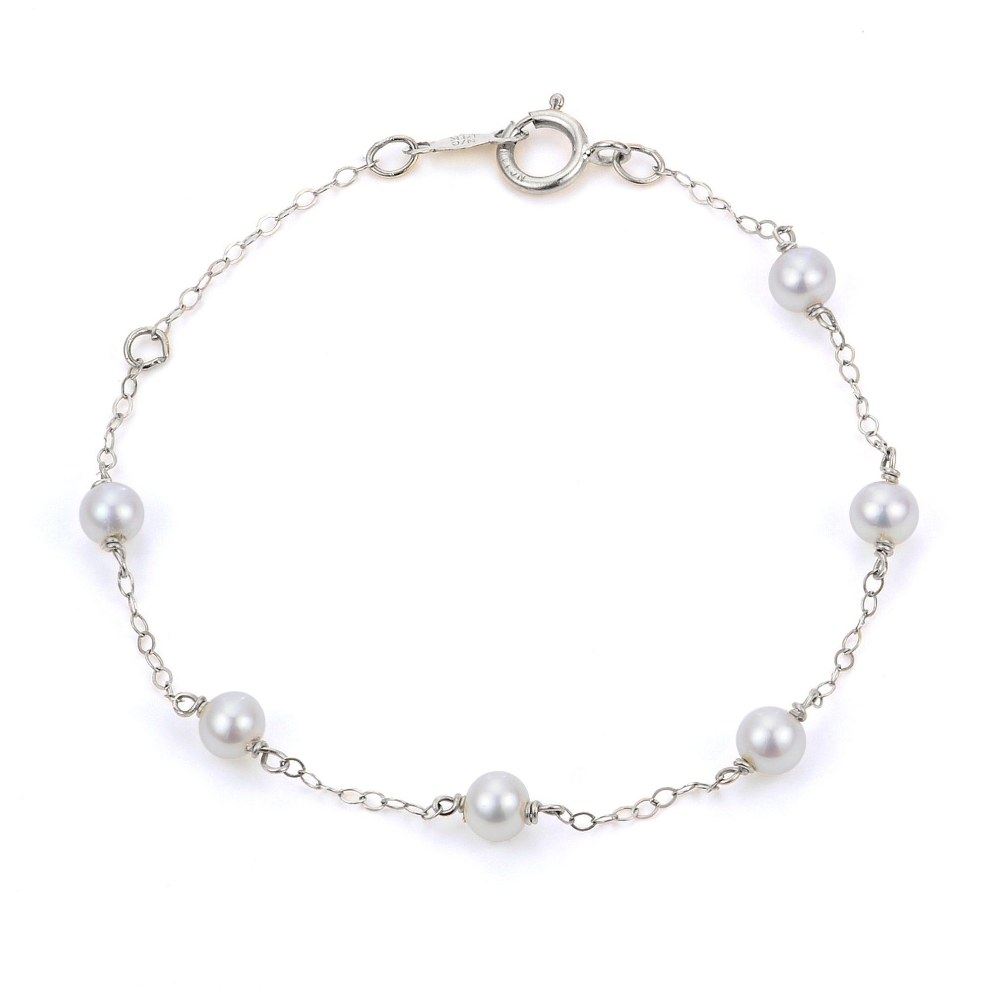 Freshwater Pearl Children's Bracelet in Sterling Silver