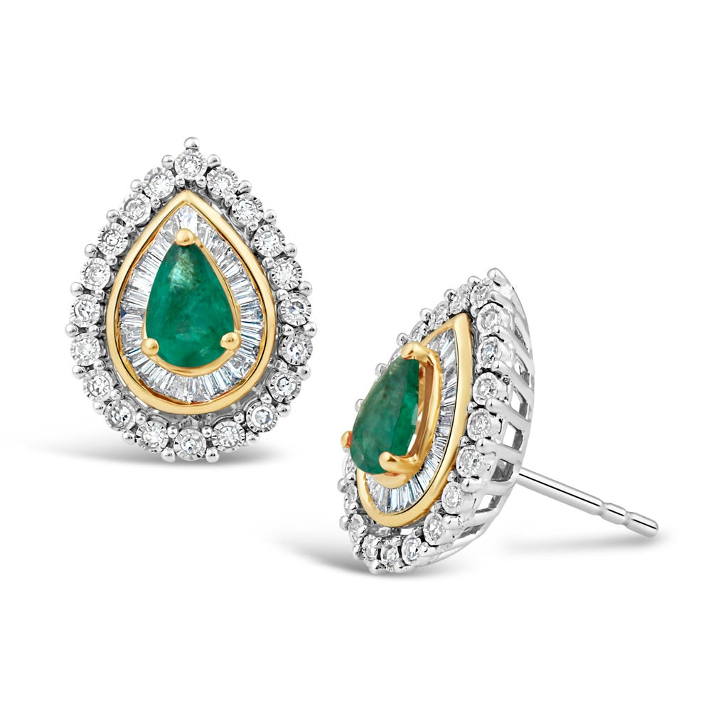Pear-Shaped Emerald & Diamond Halo Stud Earrings in 10k White & Yellow Gold
