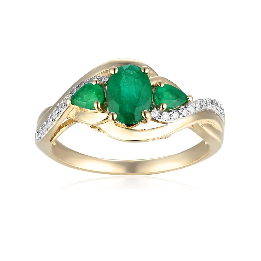 Oval Three-Stone Plus Emerald & Diamond Ring in 10k Yellow Gold