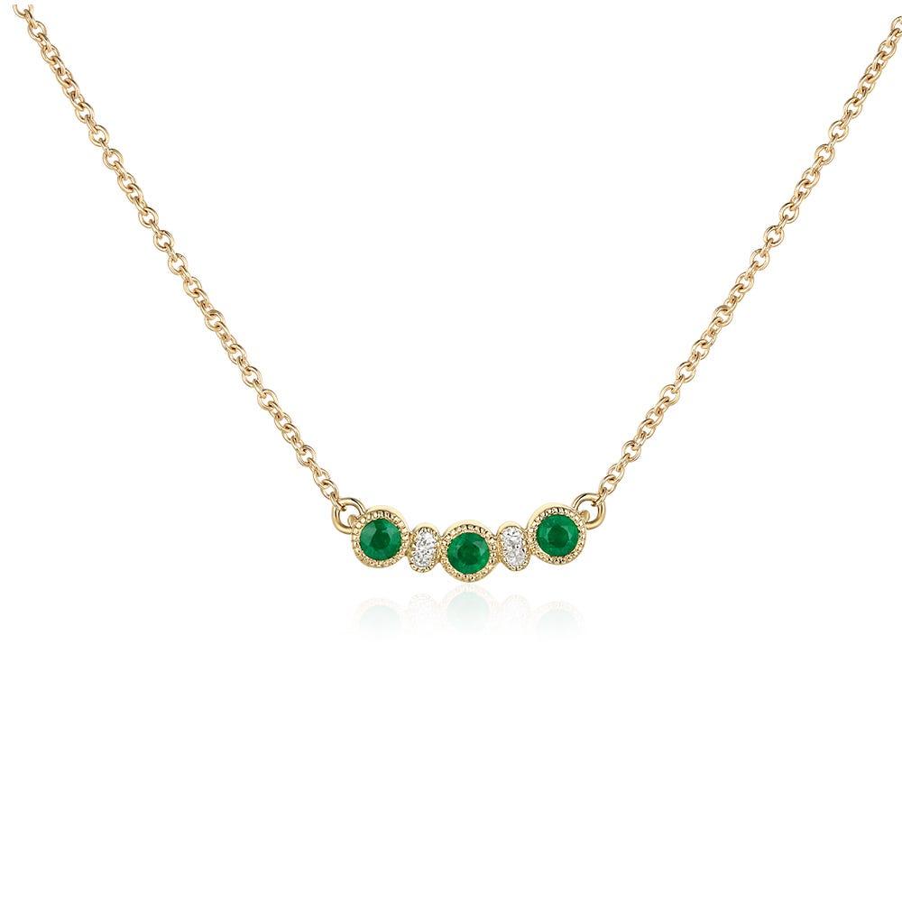 Emerald & Diamond Pendant in 10k Yellow Gold