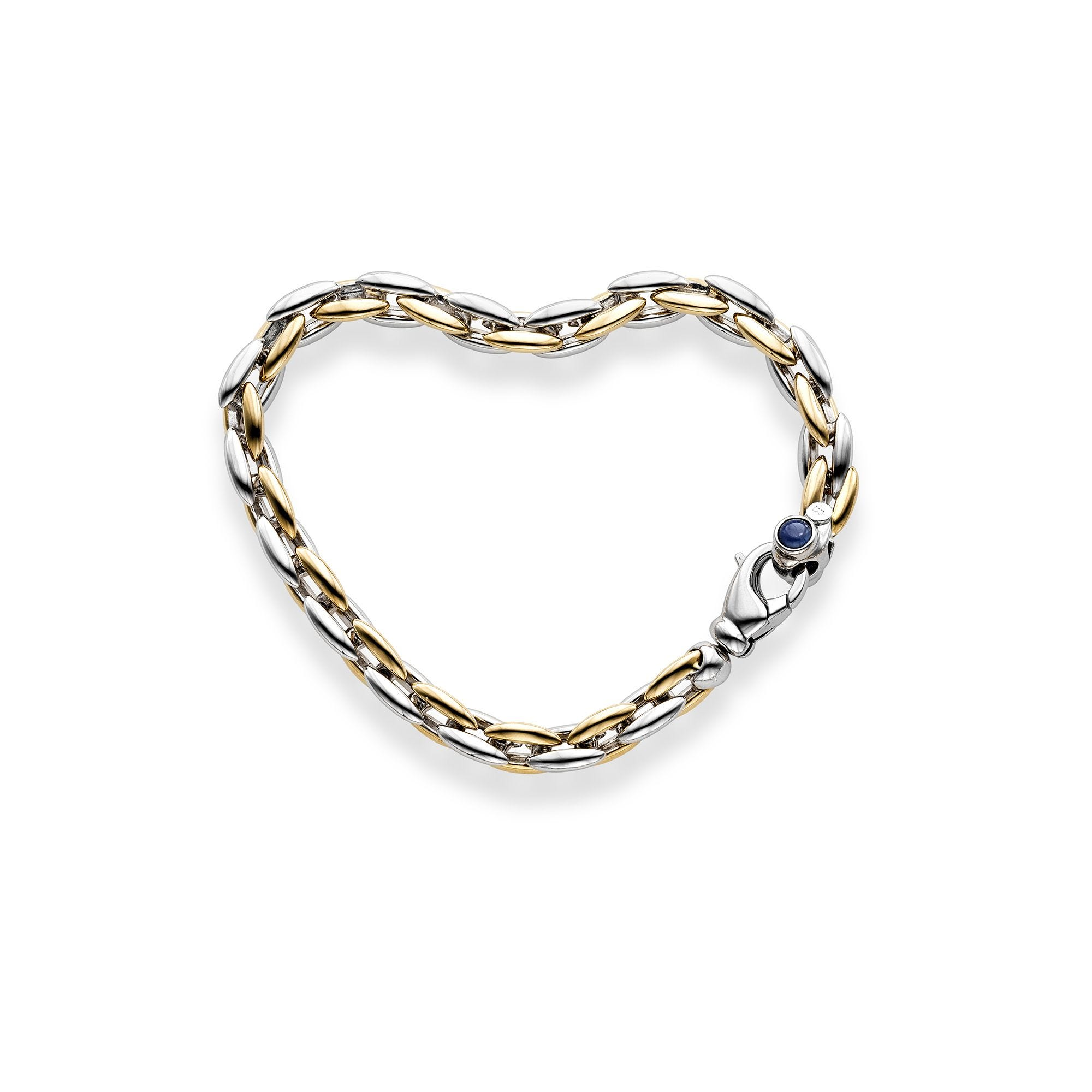 Oval Link Bracelet with Sky Blue Sapphire Accents in 14k Two-Tone