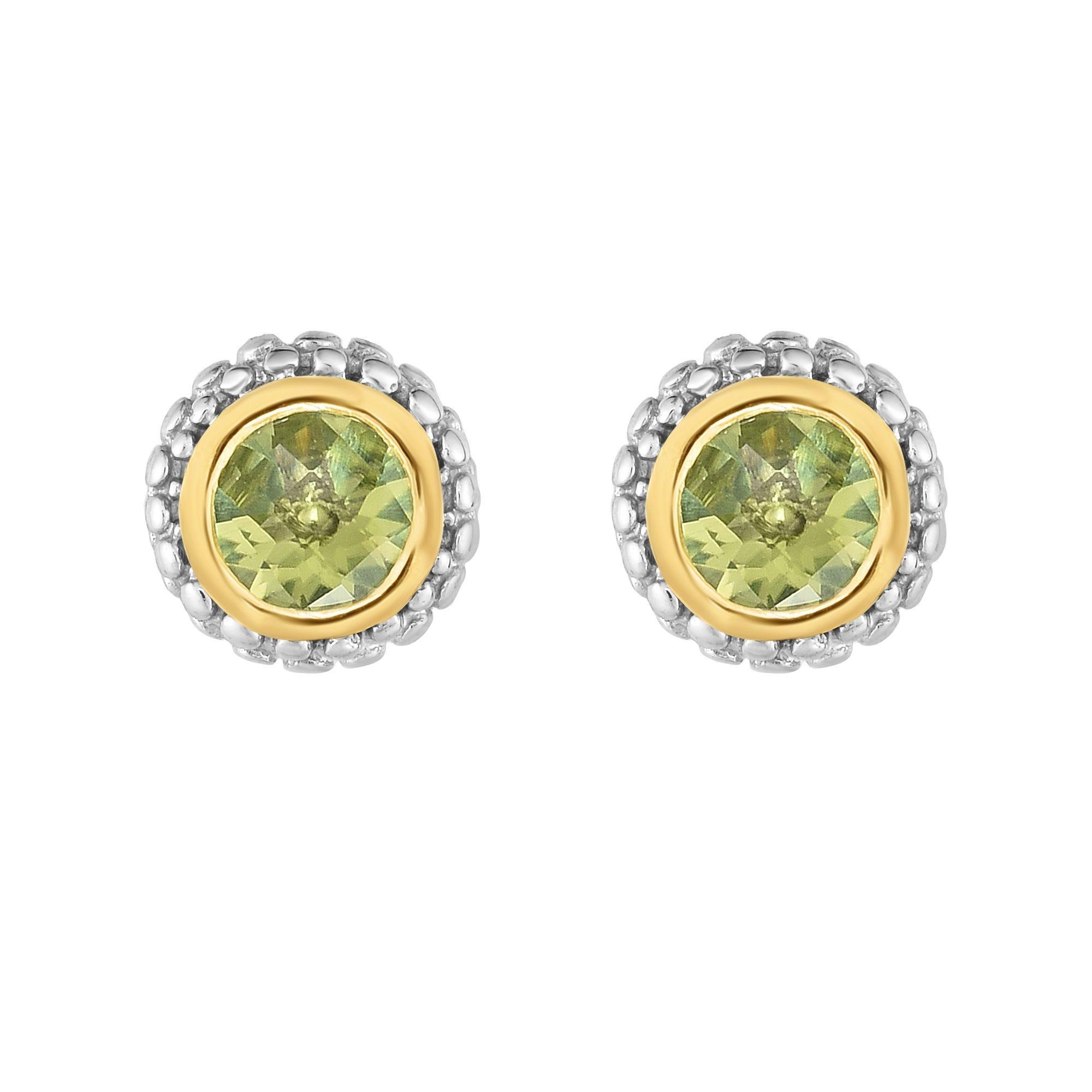 Peridot Double Halo Earrings in Sterling Silver