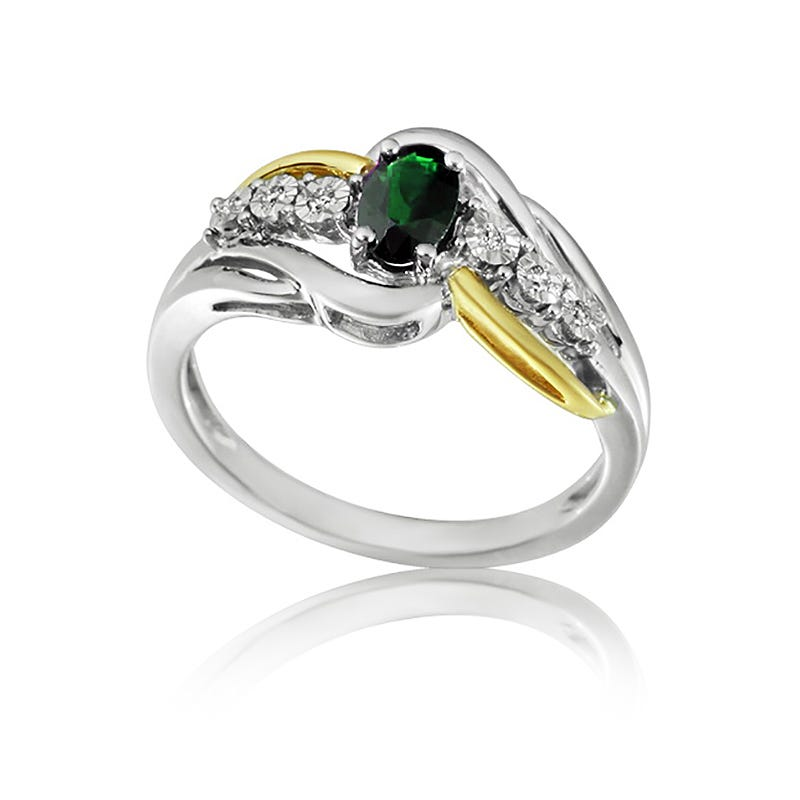 Emerald & Diamond Twist Oval Ring in 10K White and Yellow Gold