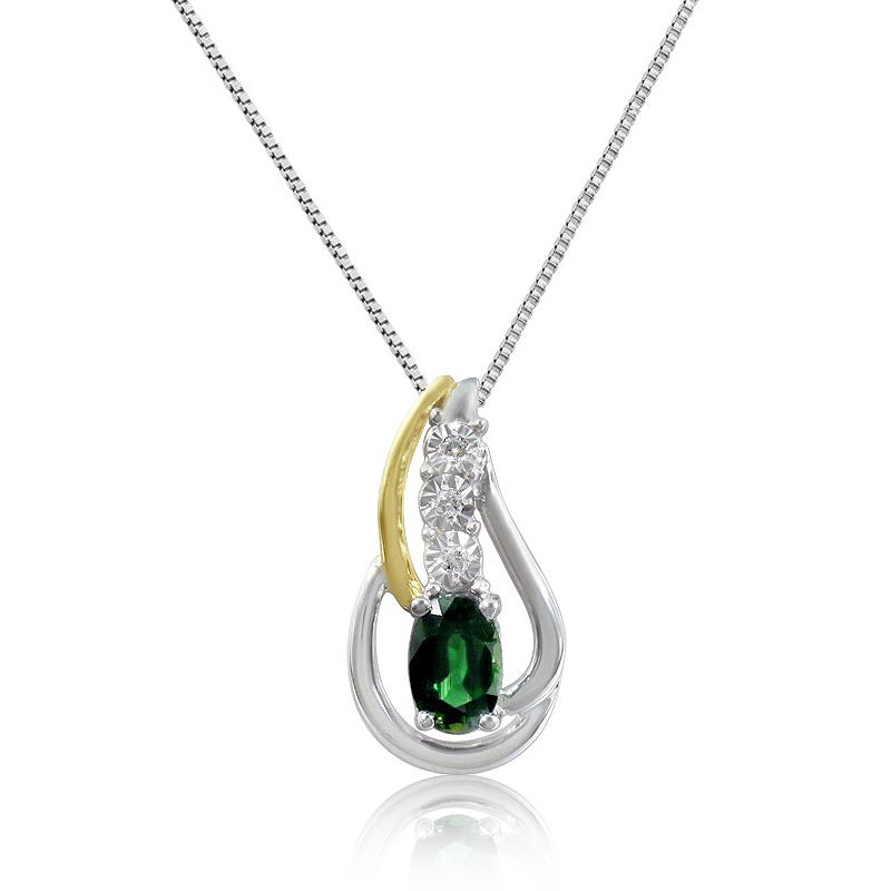 Emerald & Diamond Twist Oval Pendant in 10K White and Yellow Gold