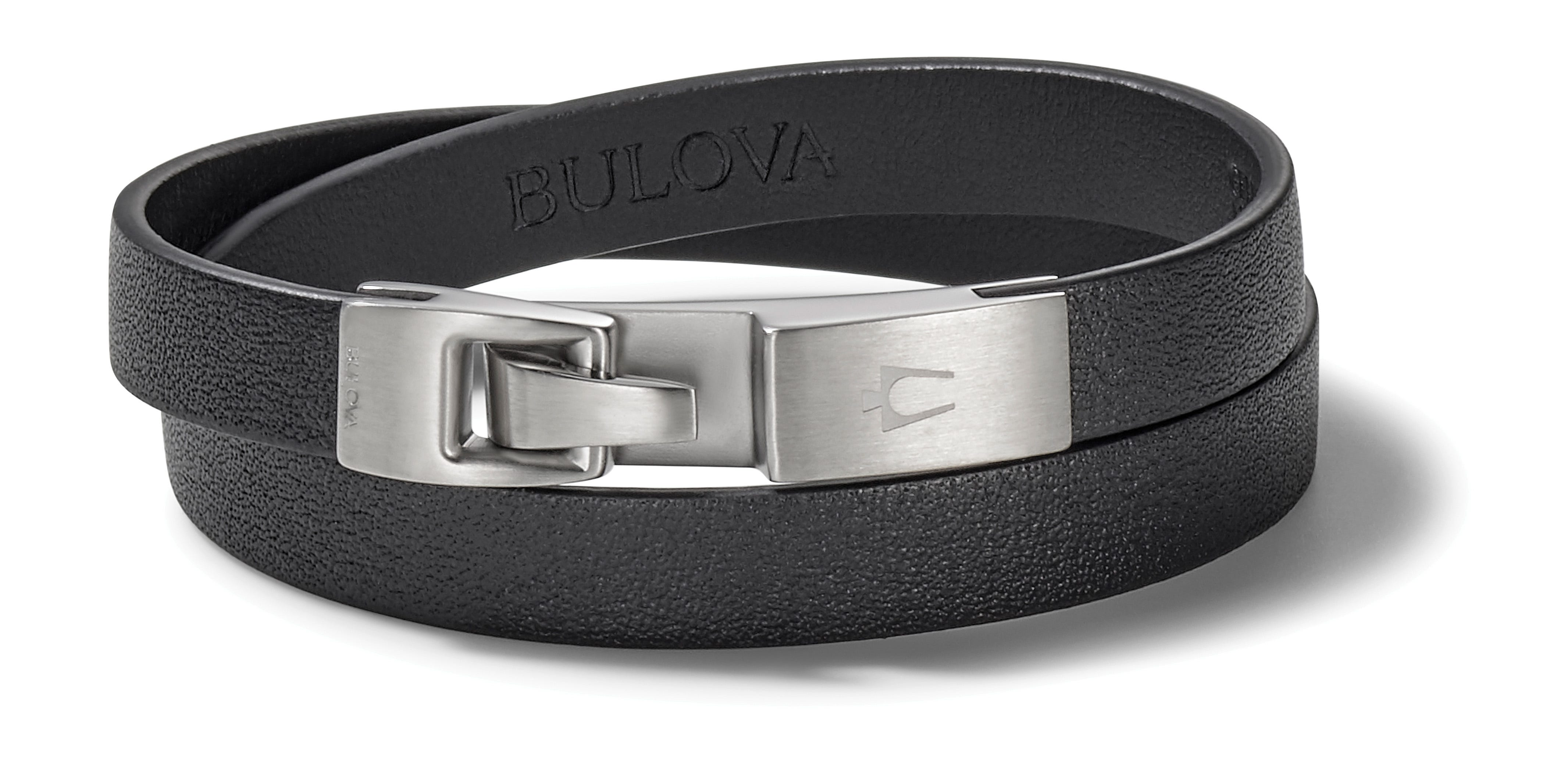 Bulova Classic Smooth Black Leather Bracelet with Stainless Steel Clasp J96B018L