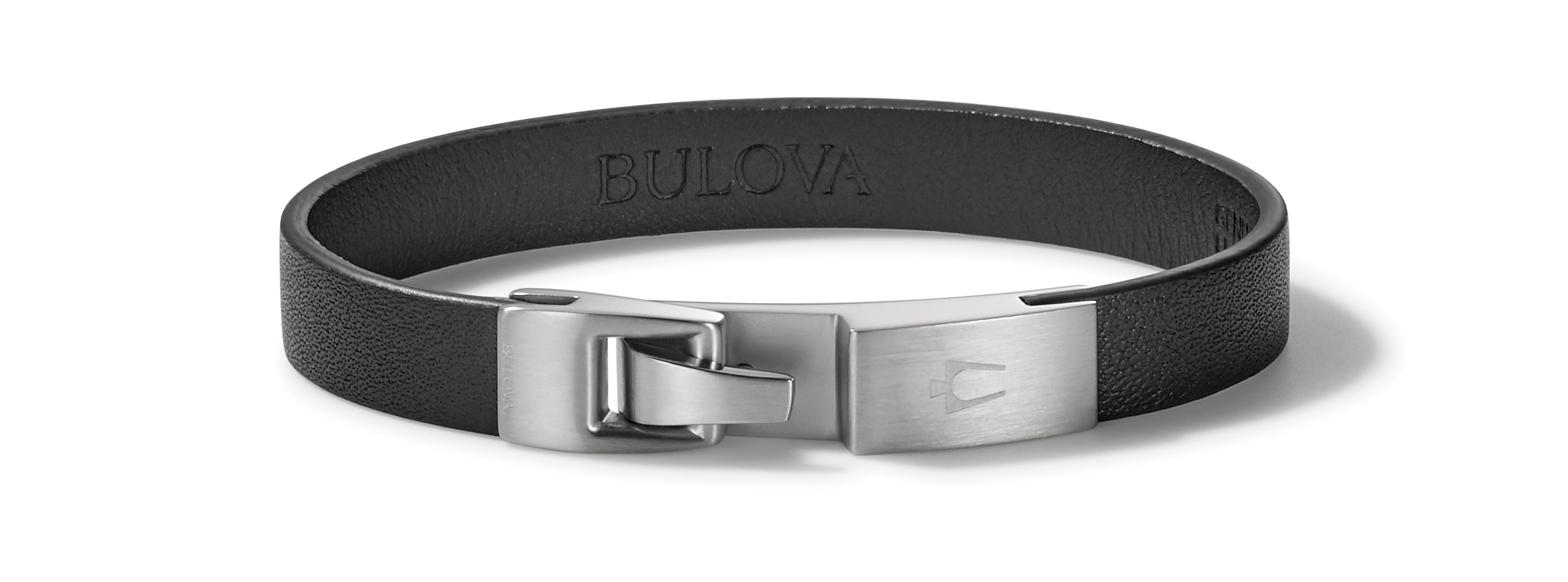 Bulova Classic Smooth Black Leather Bracelet with Stainless Steel Clasp J96B019L