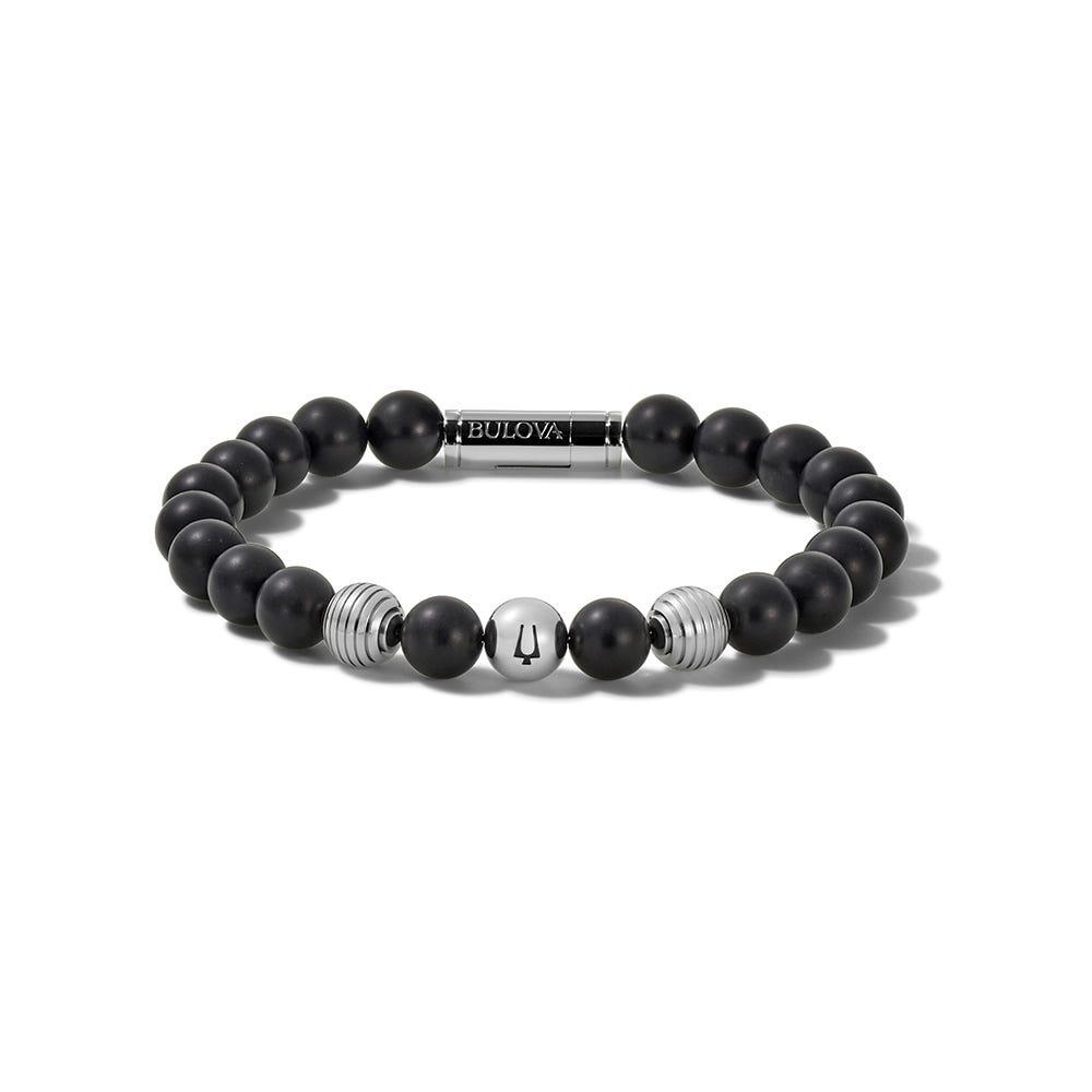 Bulova Men's Classic Onyx Bracelet in Stainless Steel