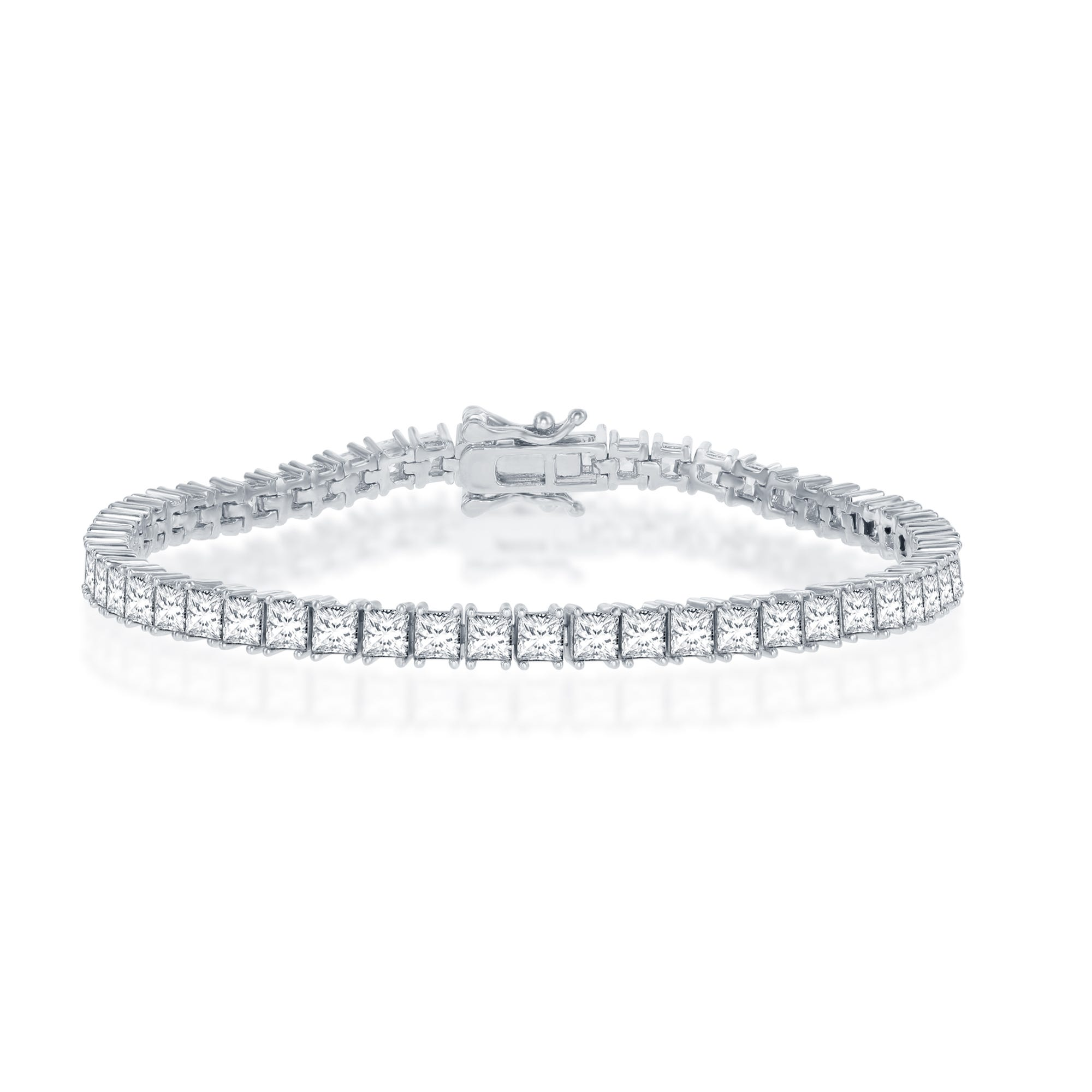 Princess Cut 3.3mm CZ Tennis Bracelet 5mm in Sterling Silver