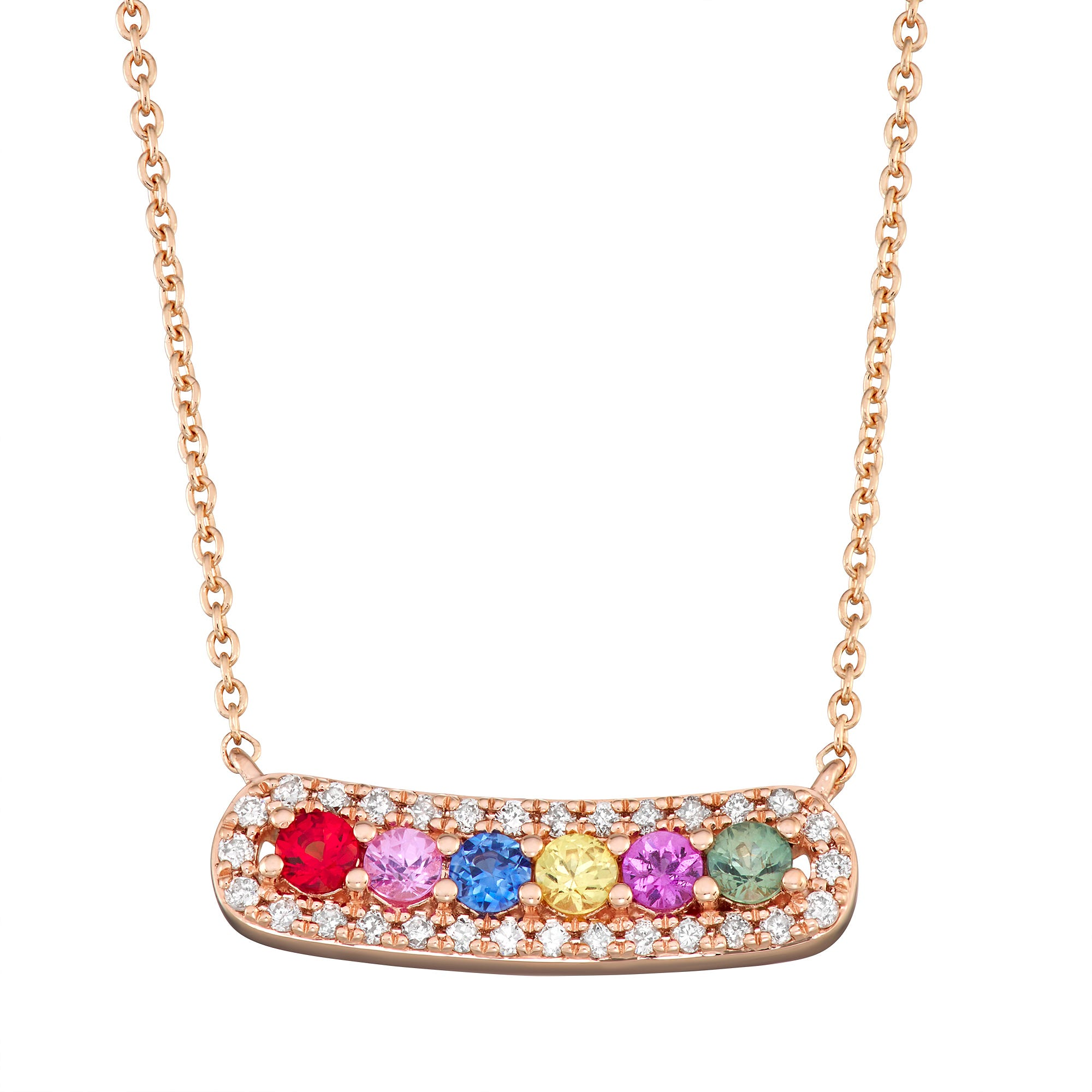 Rainbow Sapphire Bar Necklace in 14k Rose Gold