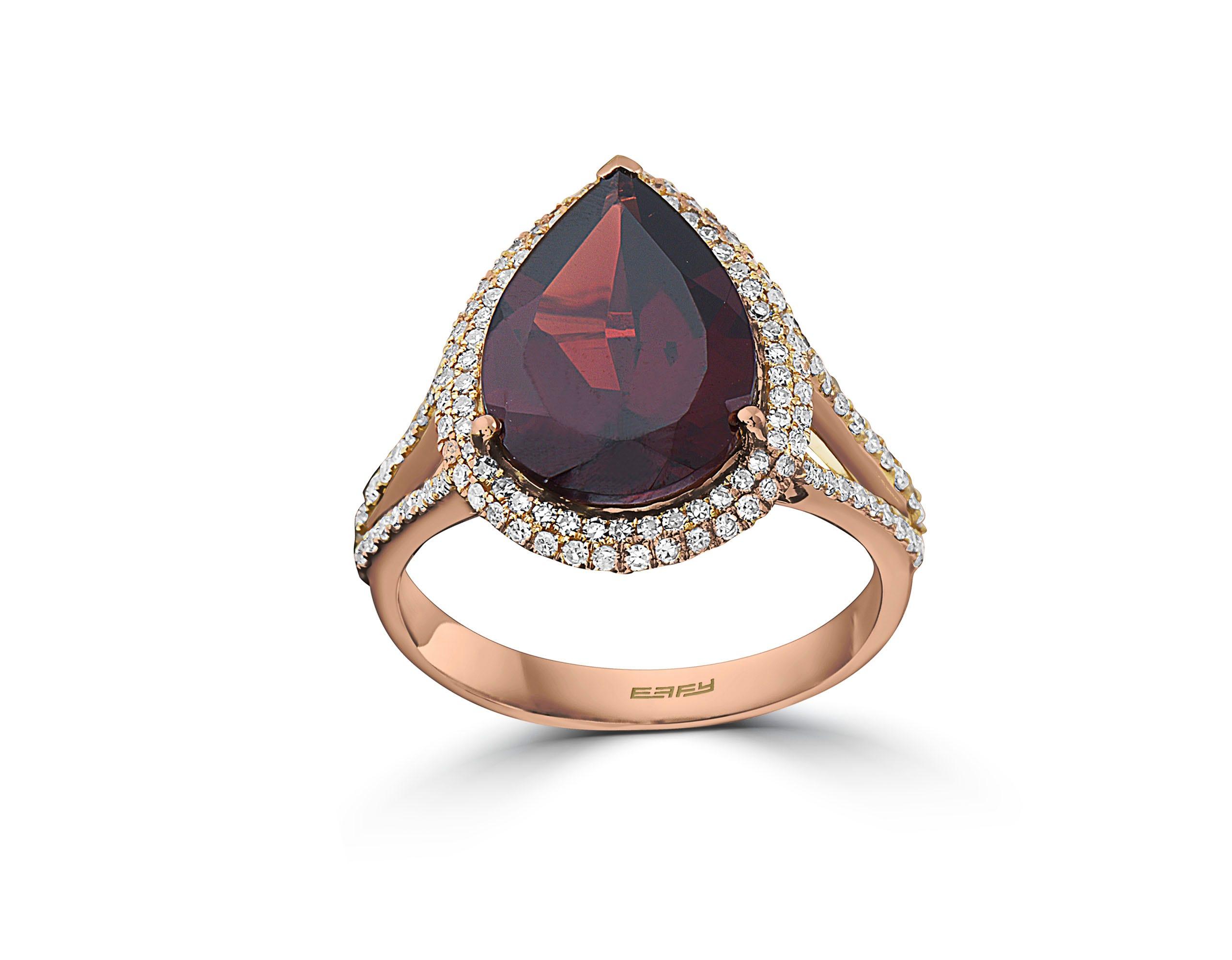 EFFY Pear-Shaped Garnet & Diamond Halo Ring in 14k Rose Gold