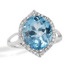 JK Crown® Oval Blue Topaz & Diamond Ring in 14k White Gold