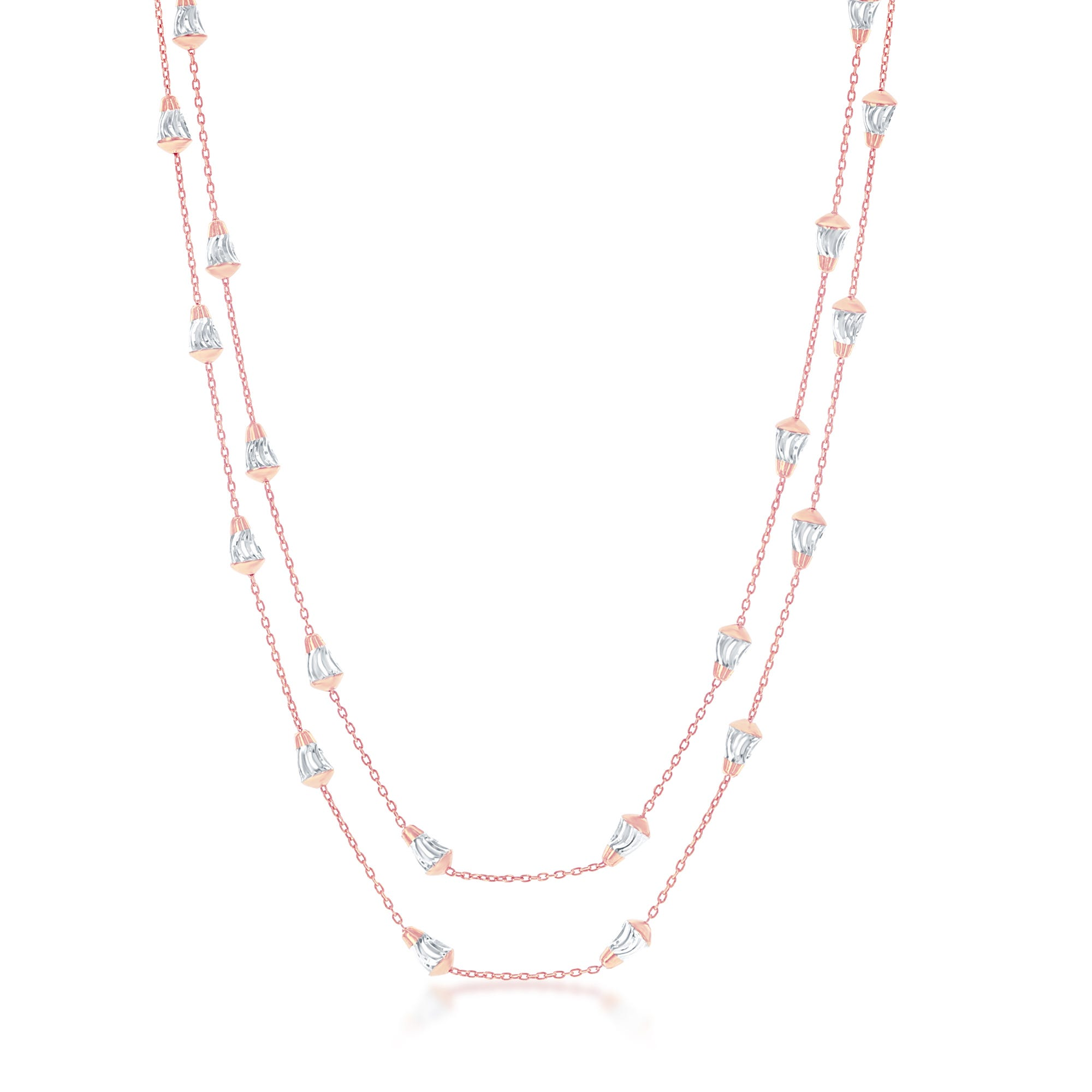 Diamond Cut Cone-Shaped Bead Chain in Sterling Silver/Rose Gold Plated