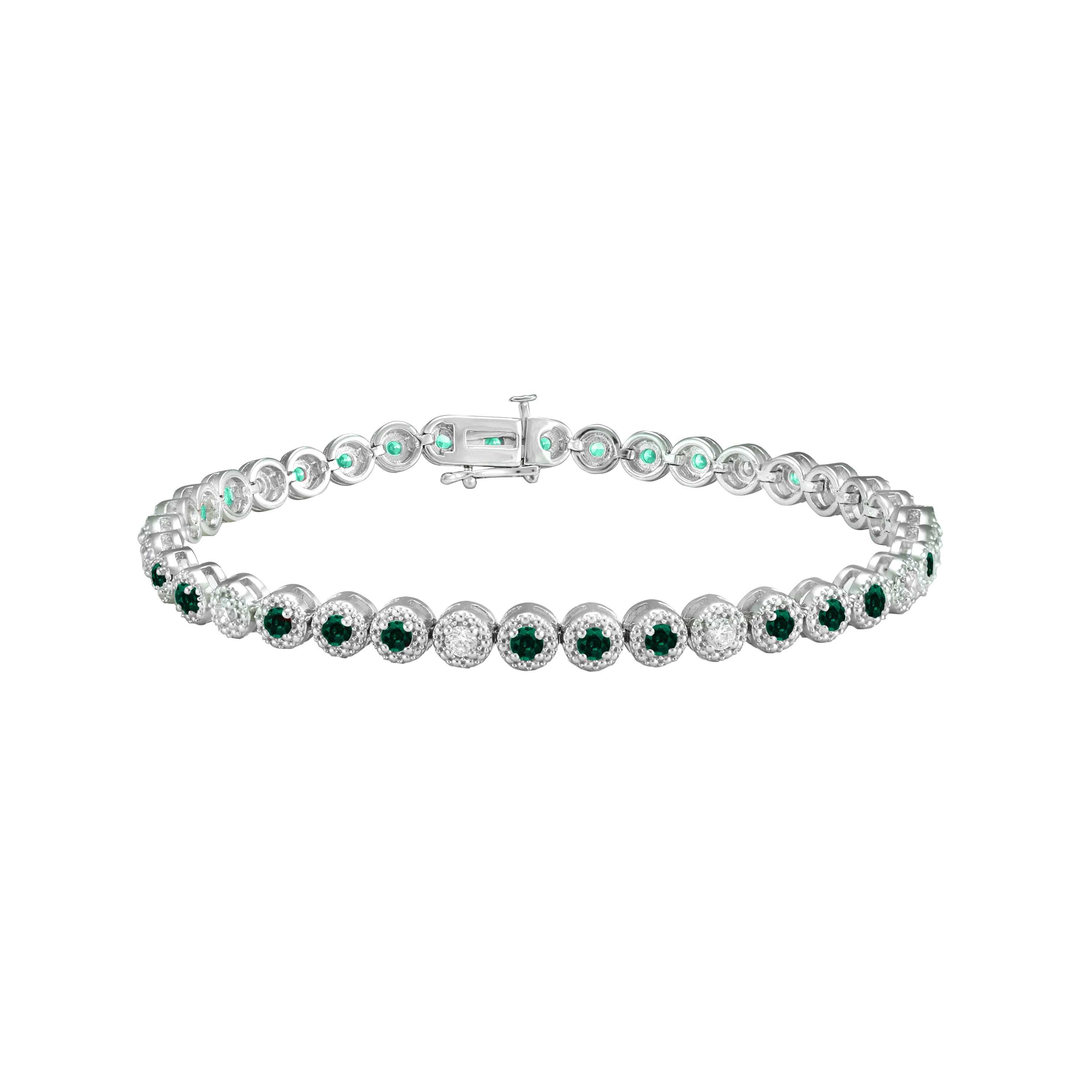 Emerald & Diamond Round Bracelet in 10k White Gold