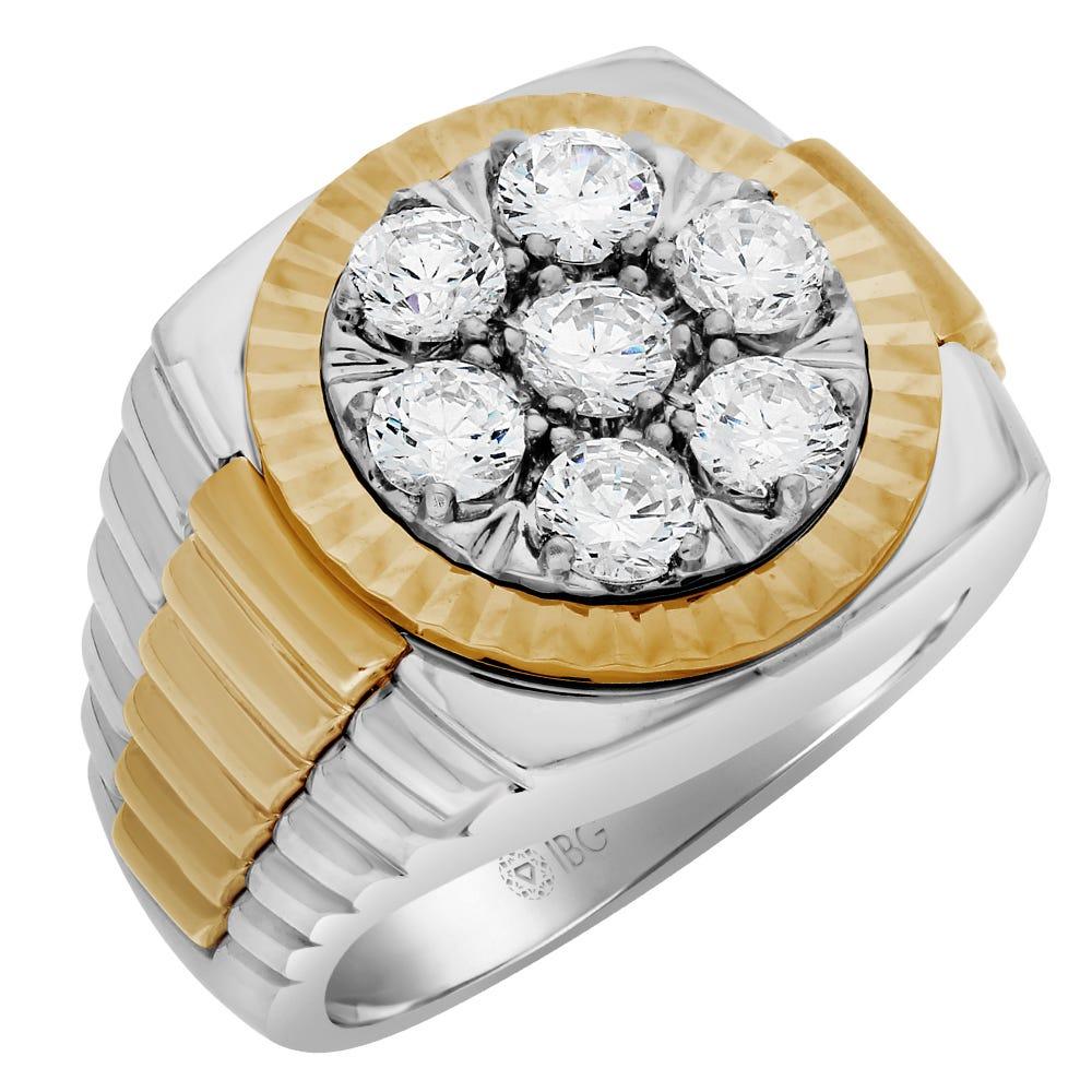 Men's Diamond Cluster 2.00ctw. Ring in 10k Yellow & White Gold