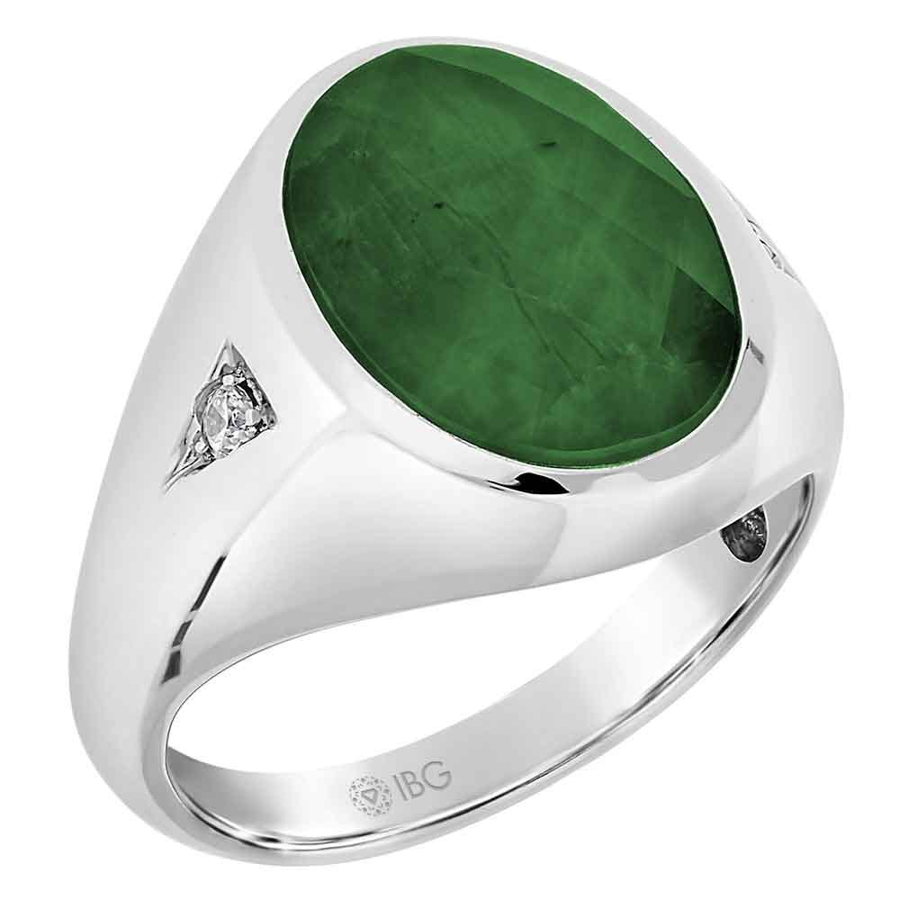 Men's Emerald Doublet & Diamond Ring in 10k White Gold
