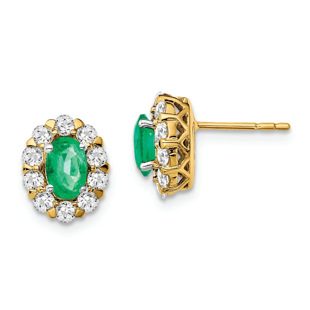 Lab-Crafted Diamond & Oval Created Emerald Earrings in 14k Yellow Gold