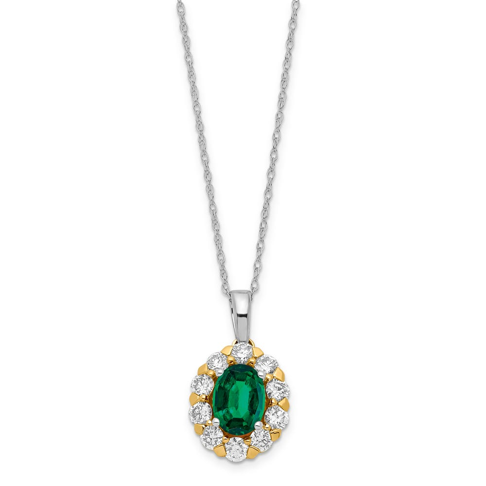 Lab-Crafted Diamond & Oval Created Emerald Pendant in 14k Gold