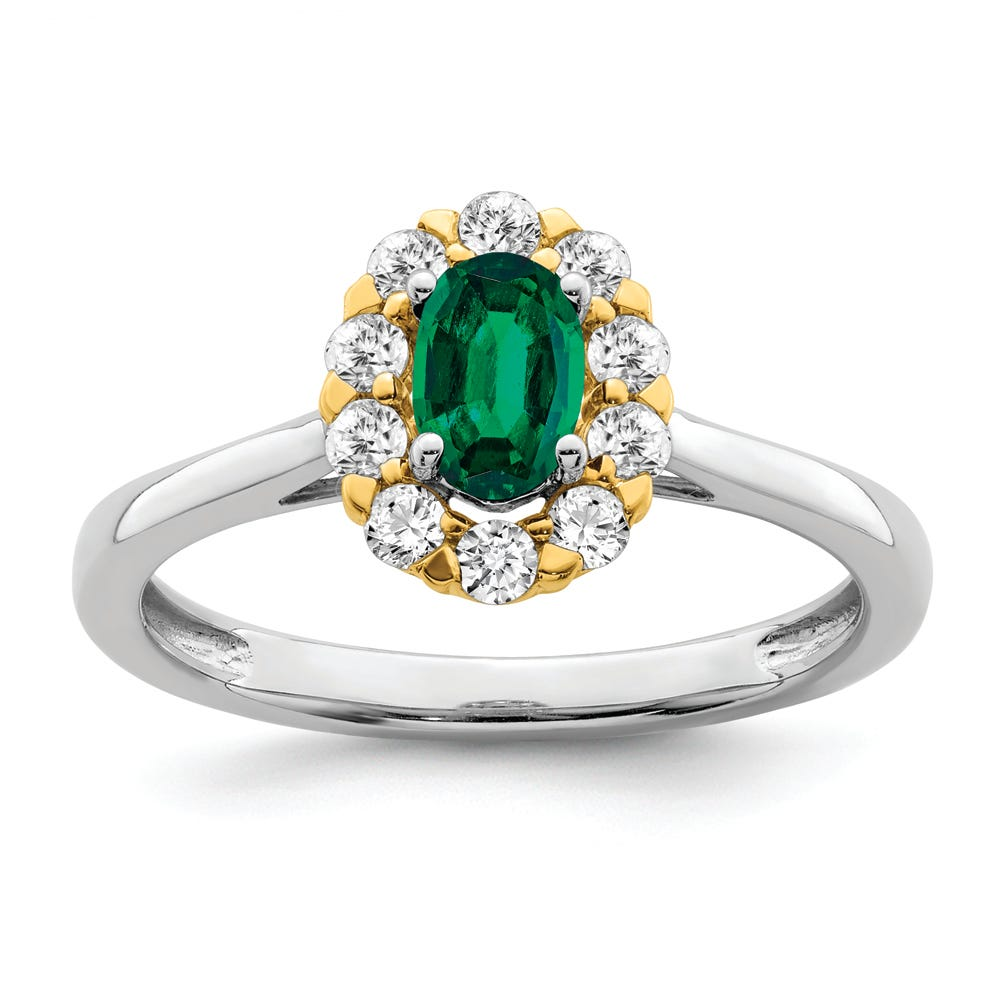 Lab-Crafted Diamond & Created Oval Emerald Ring in 14k Gold