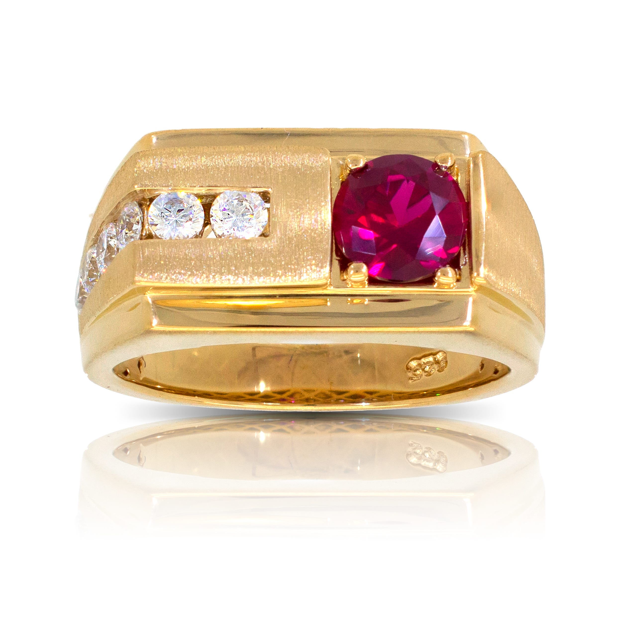 Men's Round Created Ruby & Diamond Ring in 10k Yellow Gold