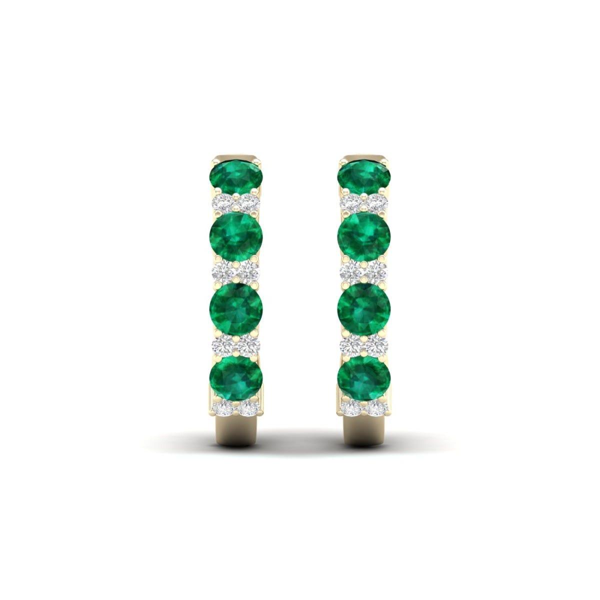 Emerald & Diamond Hoop Earrings in 10k Yellow Gold