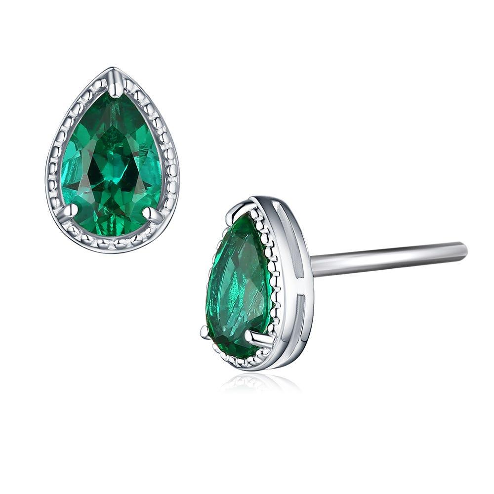 Pear Shaped Created Emerald Stud Earrings in Sterling Silver
