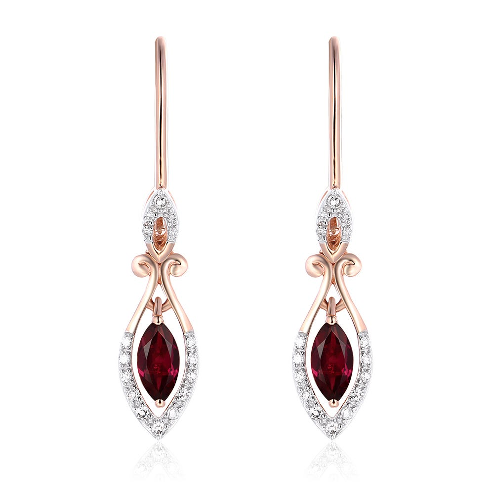 Marquise Rhodolite Garnet & Diamond Earrings in 10k Rose Gold