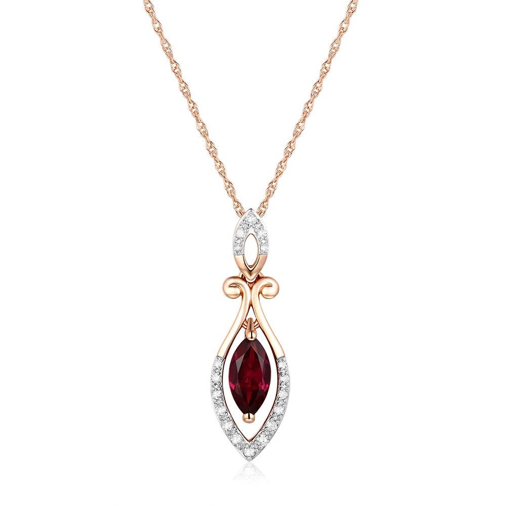 Oval Rhodolite Garnet & Diamond Pendant in 10k Rose Gold