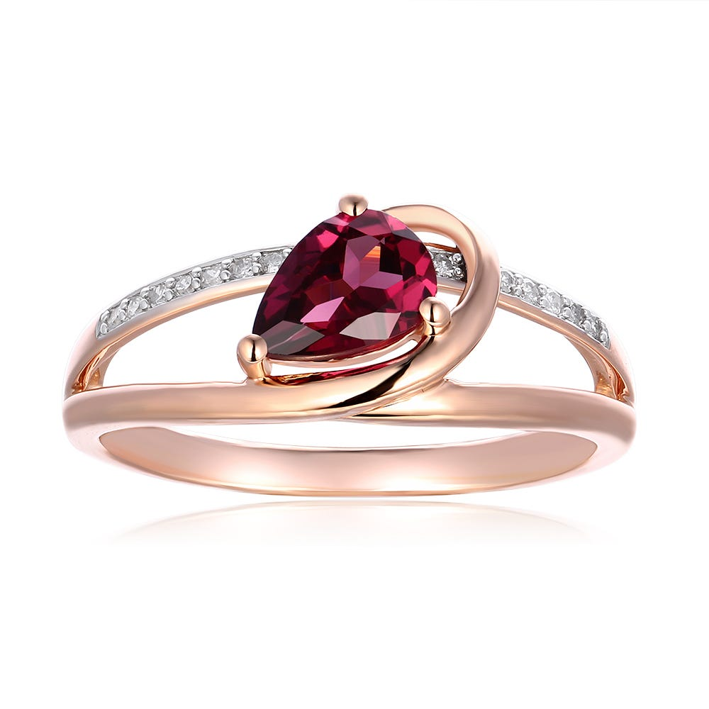 Pear Shaped Rhodolite Garnet & Diamond Ring in 10k Rose Gold