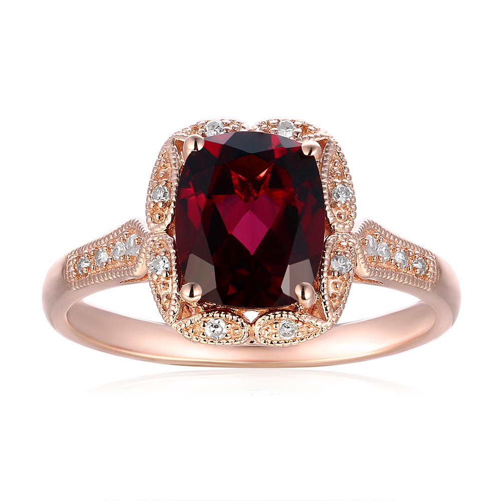 Cushion Cut Garnet & Diamond Ring in 10k Rose Gold