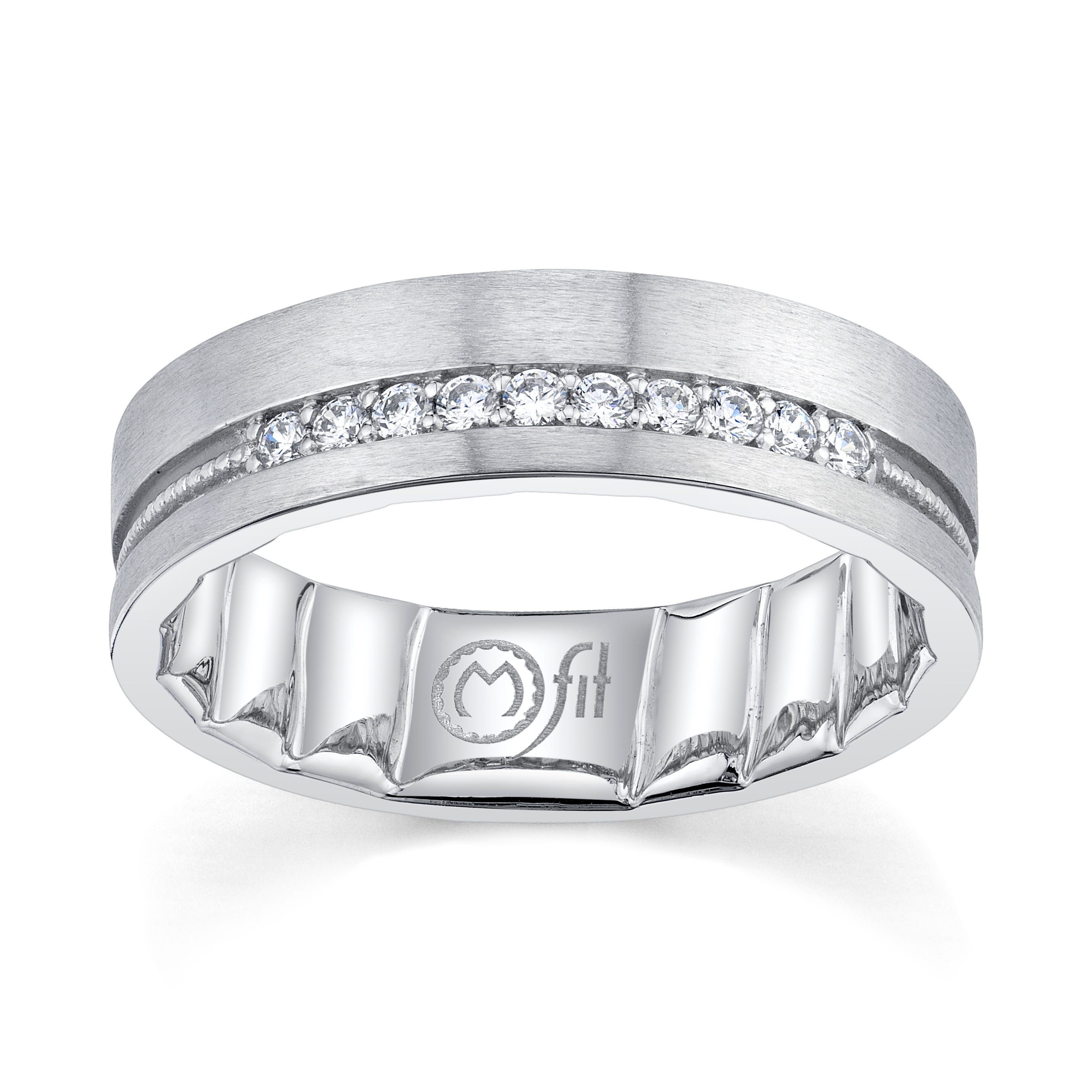 Men's MFIT Diamond 1/7ctw. Comfort Fit Band in 10k White Gold
