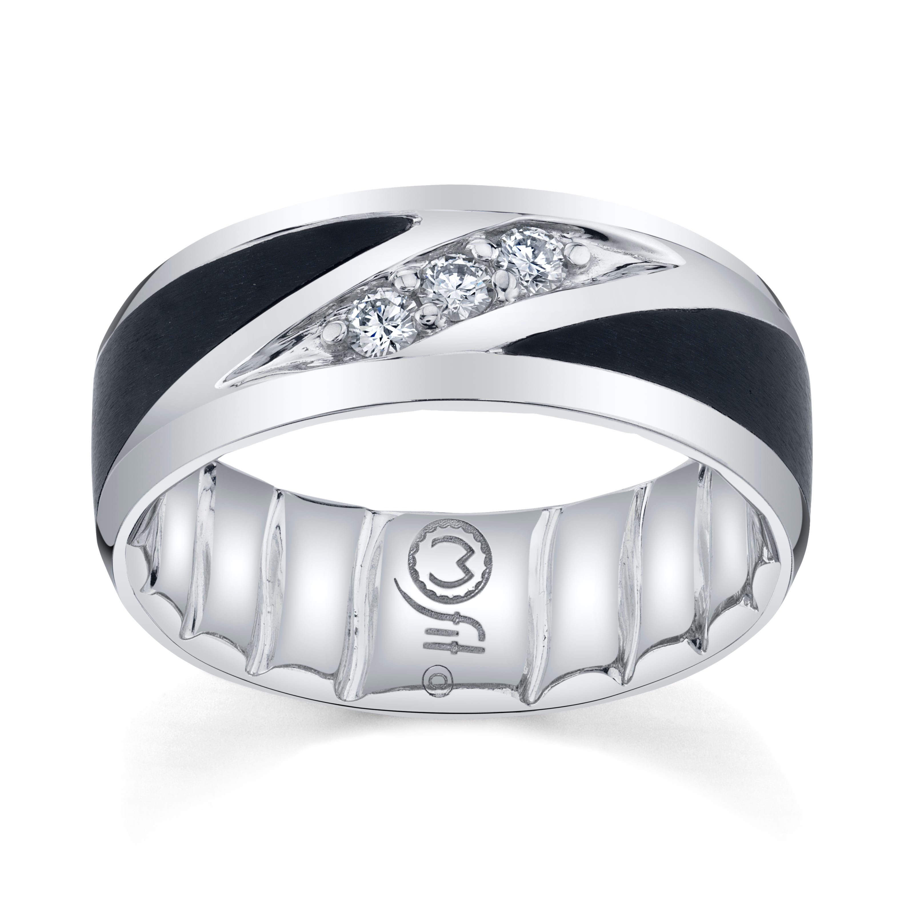 Men's MFIT Diamond 1/5ctw. & Black Ceramic Ring in 10k White Gold
