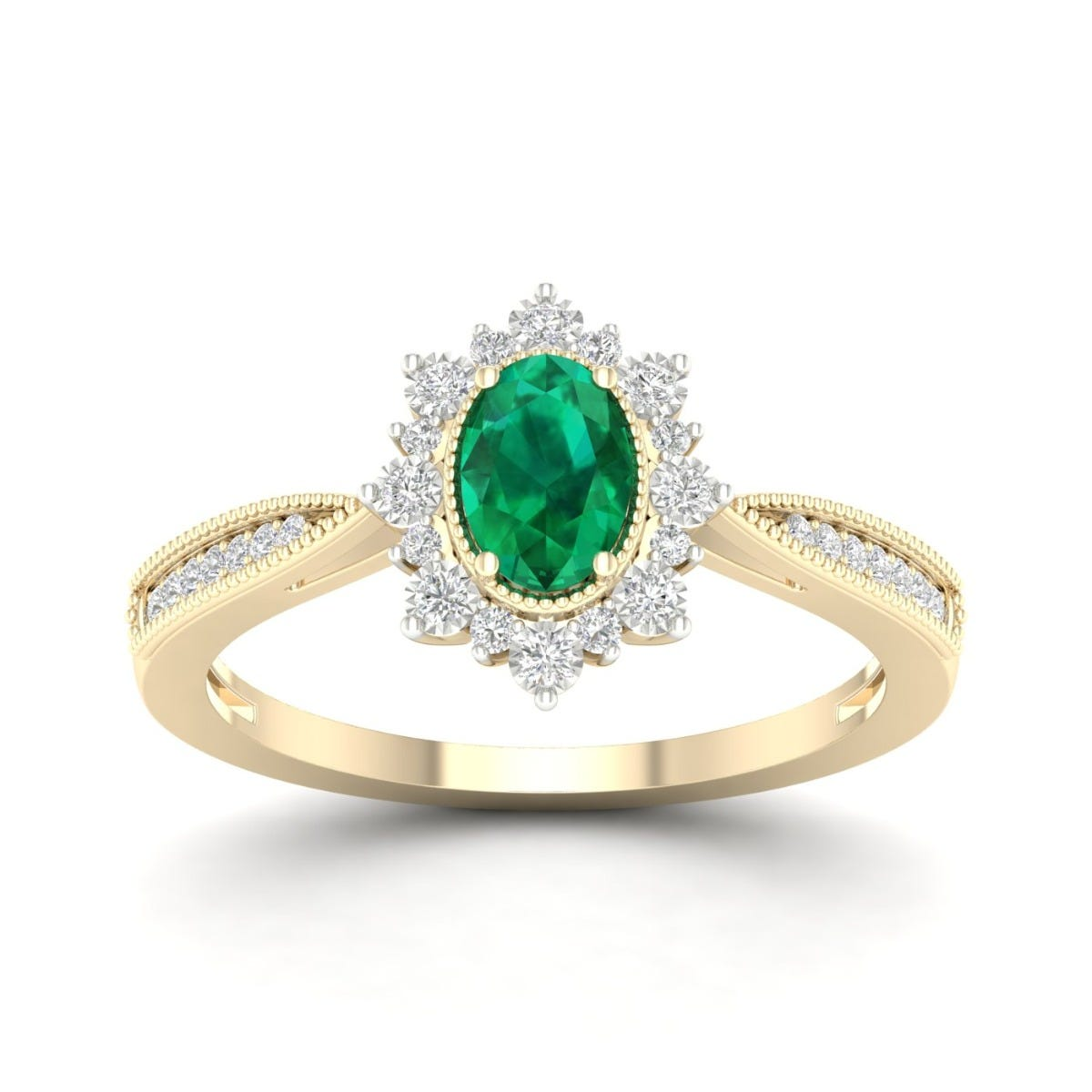Oval Emerald Vintage Halo Ring in 10k Yellow Gold