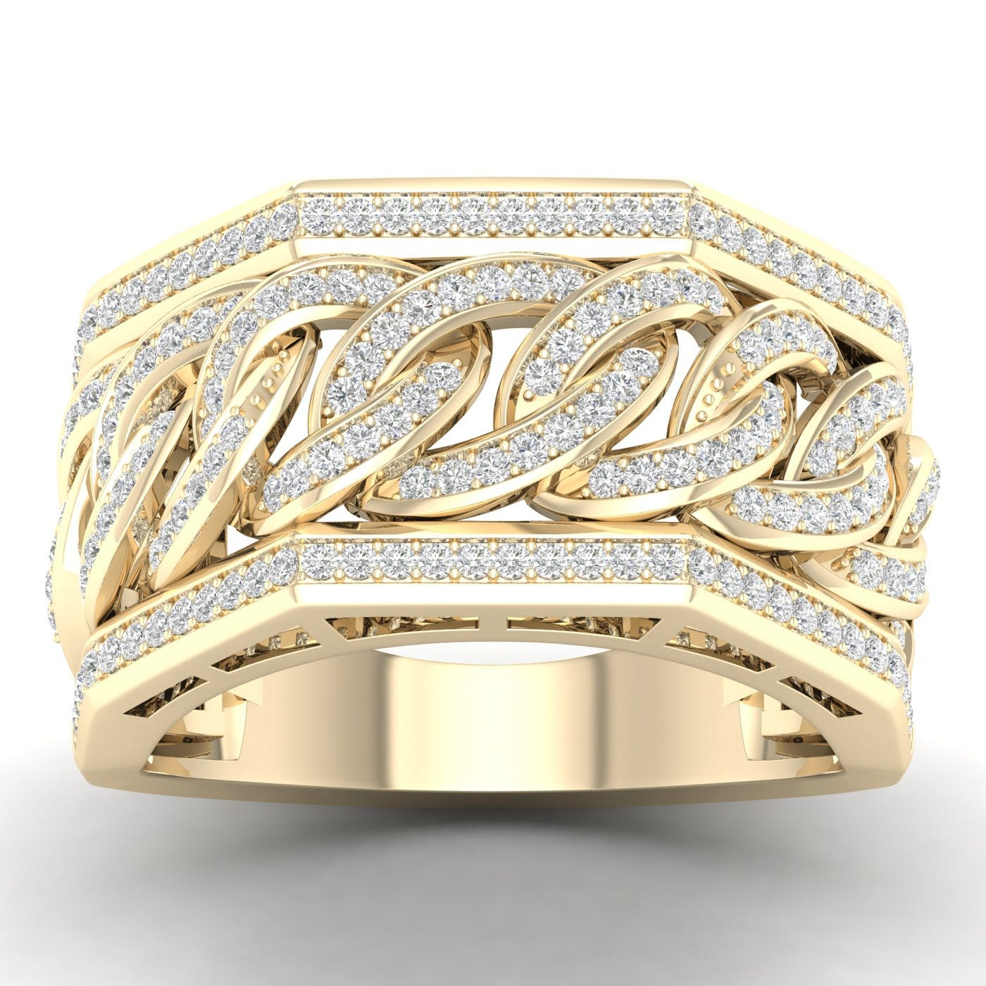 Gents Diamond Link Band 1/2ctw in 10k Yellow Gold