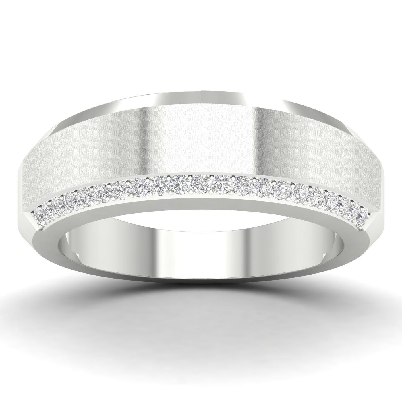 Gents Diamond Band in 10k White Gold