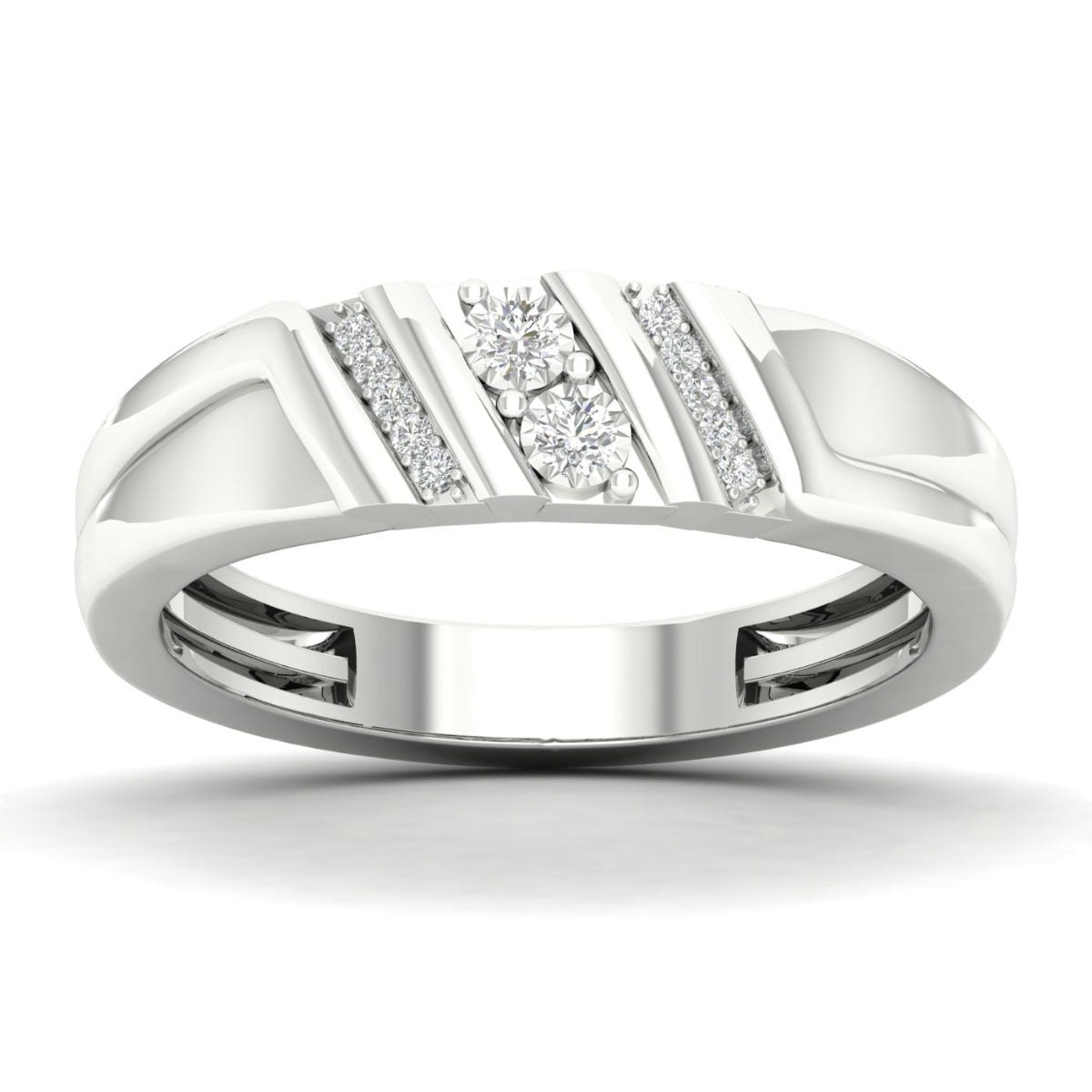 Gents Diagonal Striped Diamond Band in 10k White Gold