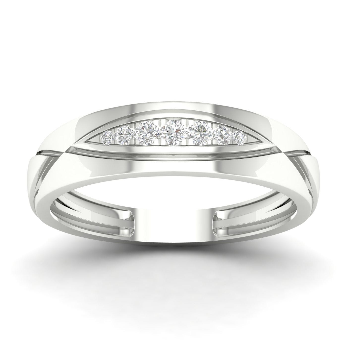 Gents Diamond Geometric Band in 10k White Gold