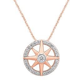Hope & Guidance Diamond Compass Pendant in 10k Rose Gold