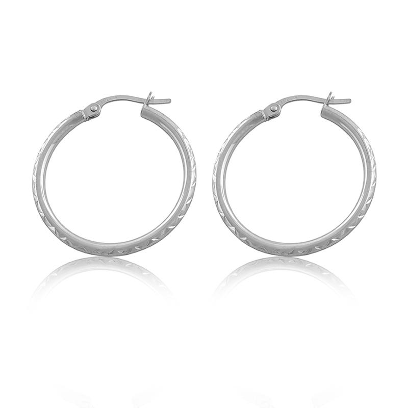 Polished Hoop Earrings in 14k White Gold