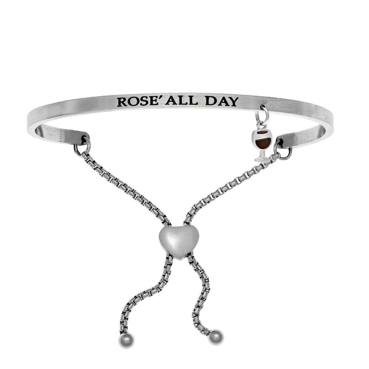 Rose' All Day. Intuitions Bolo Bracelet in White Stainless Steel