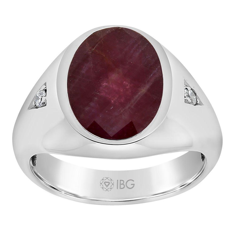 Men's Ruby Doublet & Diamond Ring in 10k White Gold