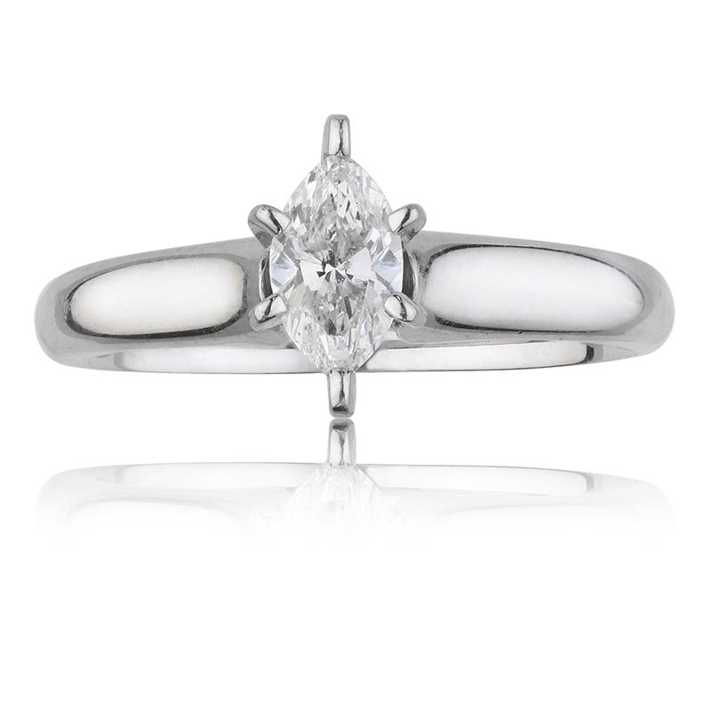 Marquise-Cut ½ct. Diamond Solitaire Engagement Ring in 14k White Gold