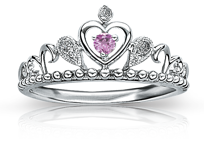 Princess Pink Sapphire & Diamond Tiara Ring in Sterling Silver