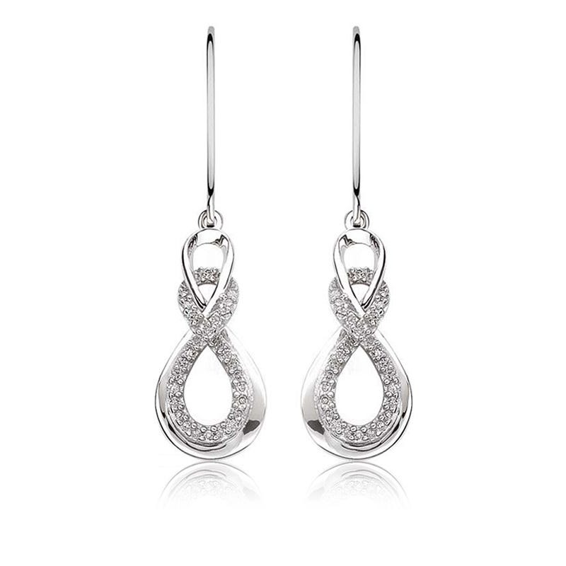 Love Knot Diamond Double Loop Dangle Earrings 1/5ctw. in Sterling Silver