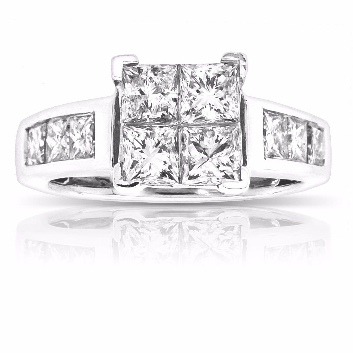 Legend. 14K White Gold 2ct. Princess-Cut Diamond Engagement Ring
